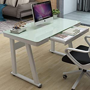 Computer Desk Table with Drawers,Modern Sturdy Desktop Computer Desk,Home Office Computer Table,Gaming Pc Desk Easy Assembly Light Green E. 80x48x75cm(31.5x18.9x29.5inch)