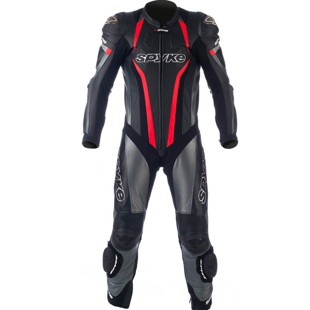 Spyke TOP SPORT MIX KANGAROO Leather Motorcycle Racing Suits for Men Black/Anthracite/Fluorescent Red US XS/46 EU