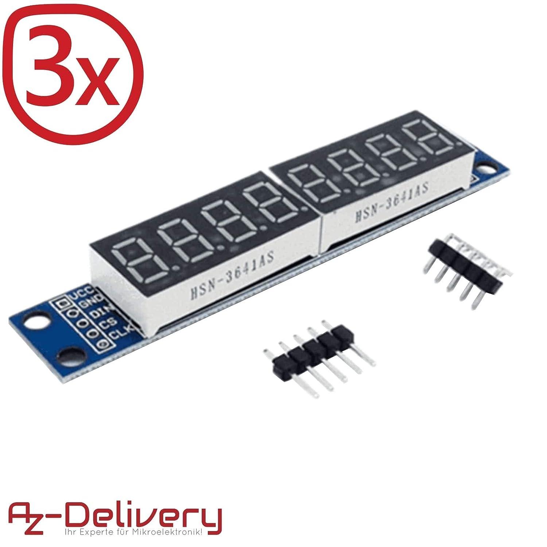 AZDelivery MAX7219 modulo LED de 8 bits y 7 Segmentos LED para Arduino y Raspberry Pi con eBook incluido