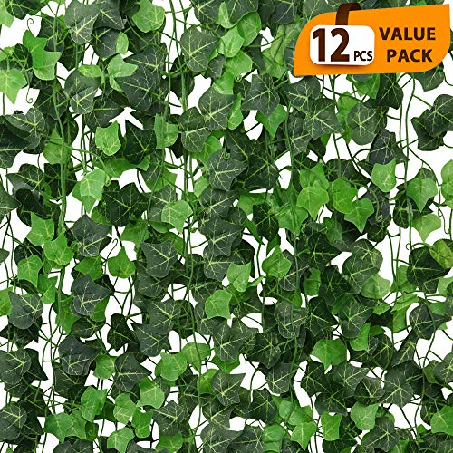 (ElaDeco 94 ft 12 Pack Artificial Ivy Garland Vine,Plastic Ivy Vines Fake Ivy Garland for Wedding Party Decoration Garden Wall Greenery Decoration)
