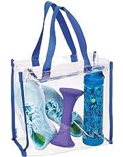 mDesign sac de sport pour équipement, vêtements, accessoires - besace transparente/ détails en bleu - sac à bandoulière imperméable