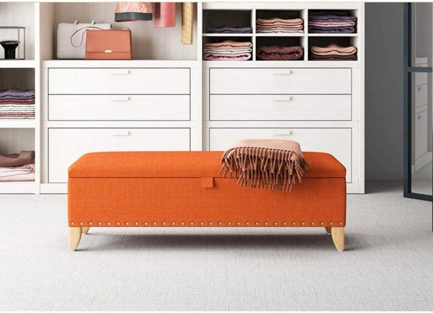 Storage Benches Ottoman Storage Bench Pouffe Linen Fabric Solid