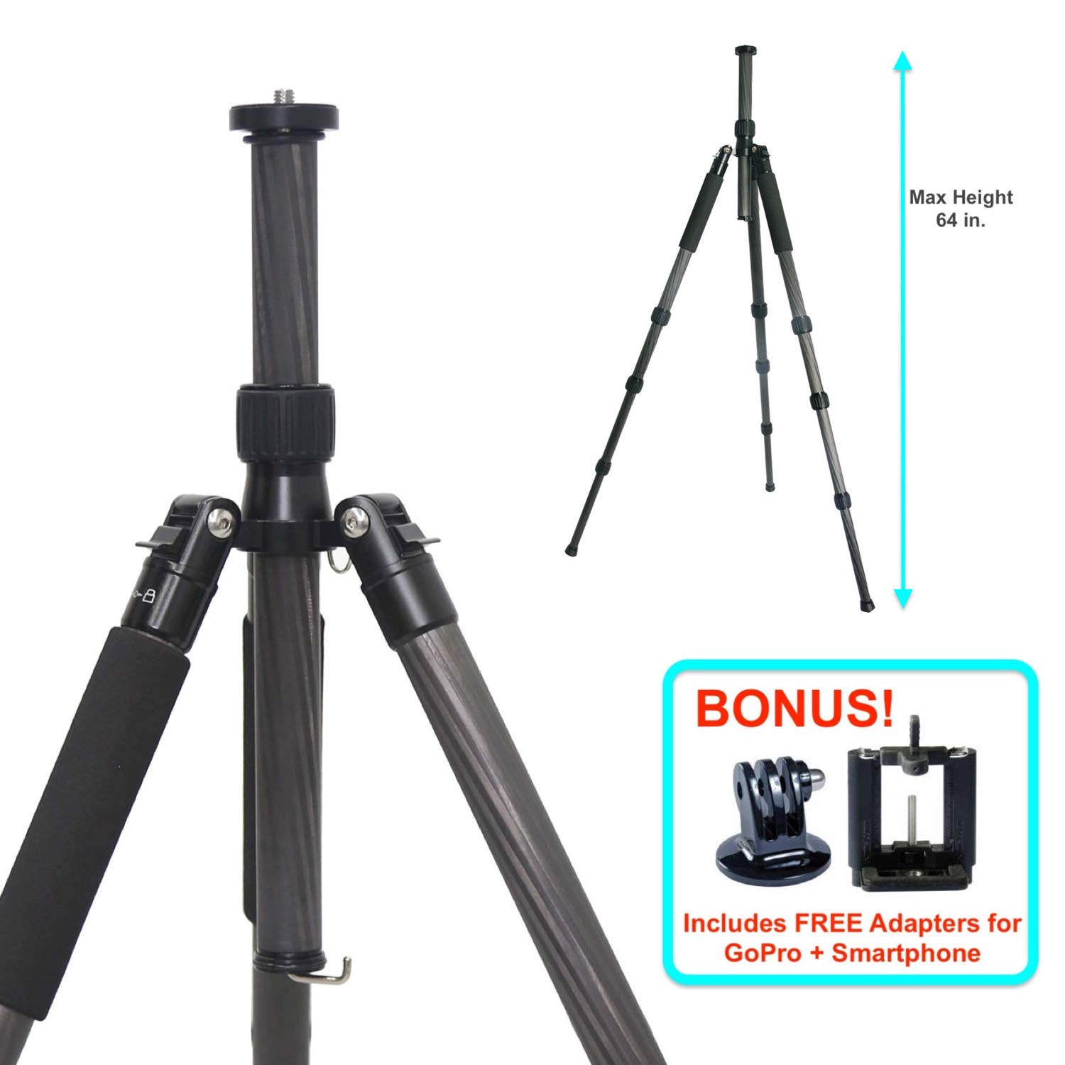 TERRA FIRMA TRIPODS T-CF450 Carbon Fiber 4 Section Tripod Leg Set, Black