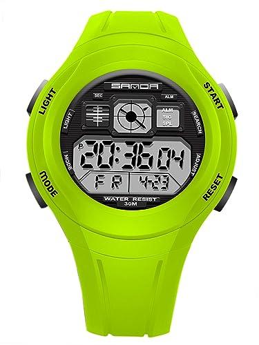 SANDA - Reloj Electrónico LED Alarma para Niños Reloj de Pulsera Digital para Estudiantes Resistente al Agua - Verde: Amazon.es: Relojes