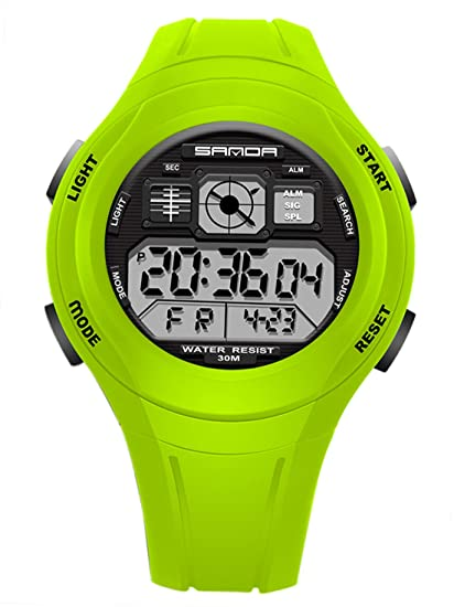 Kids Boys Girls Sport Watch Digital Quartz Multi Function Water Resistant Watch - Green