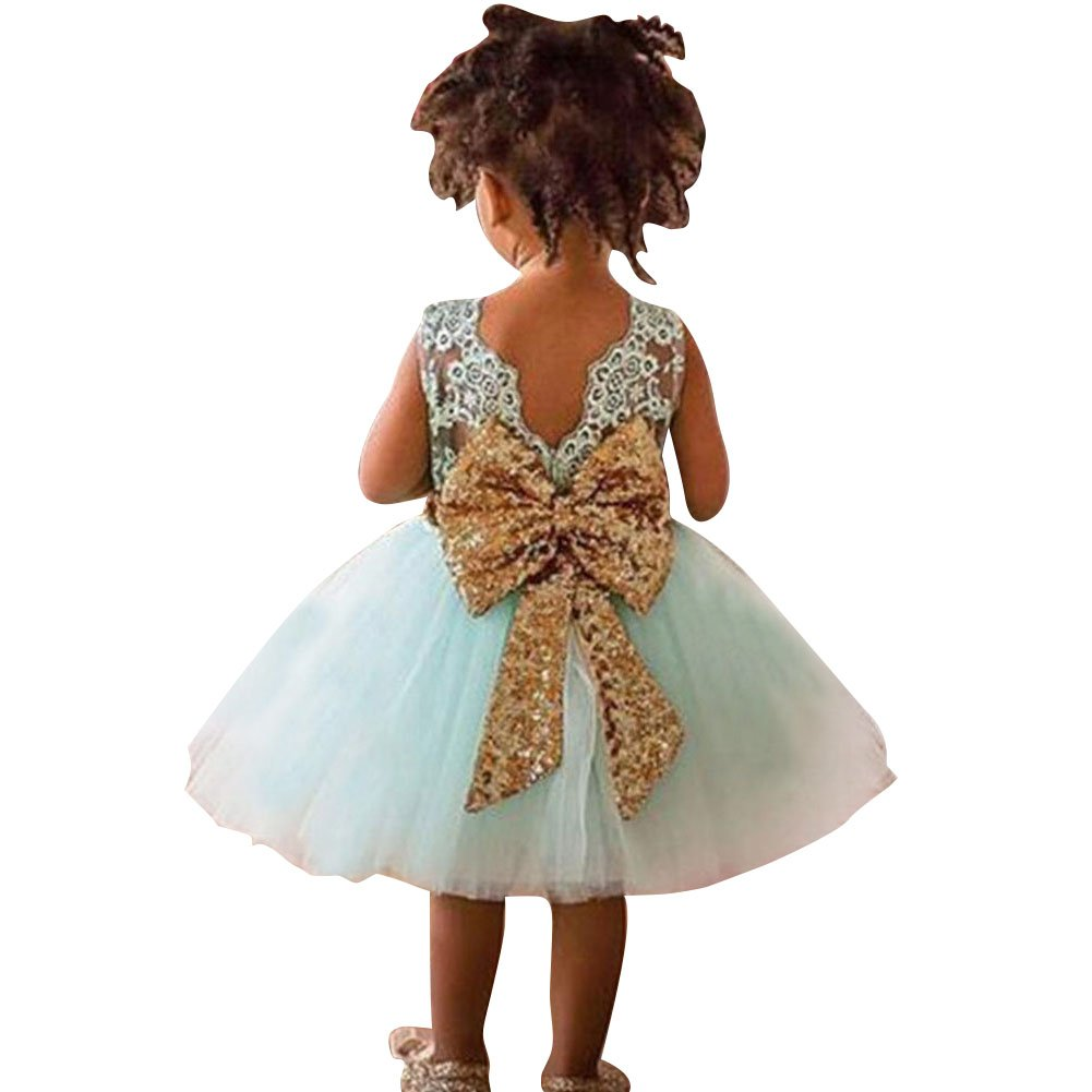 Vestidos para Bebé Niñas - Princesa Largos Vestido sin Mangas de Encaje Elegante Ropa de Fiesta/Noche/Bodas junkai Network Technology Ltd