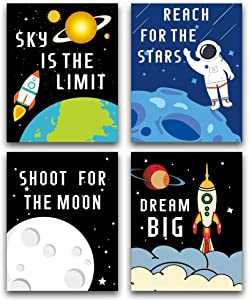 "HPNIUB Cartoon Rocket Art Picture Outer Space Posters Astronaut Art Print Set of 4 (10""X8""Kids Inspirational Wall Art for Nursery or Boys&Girls,No Frame"