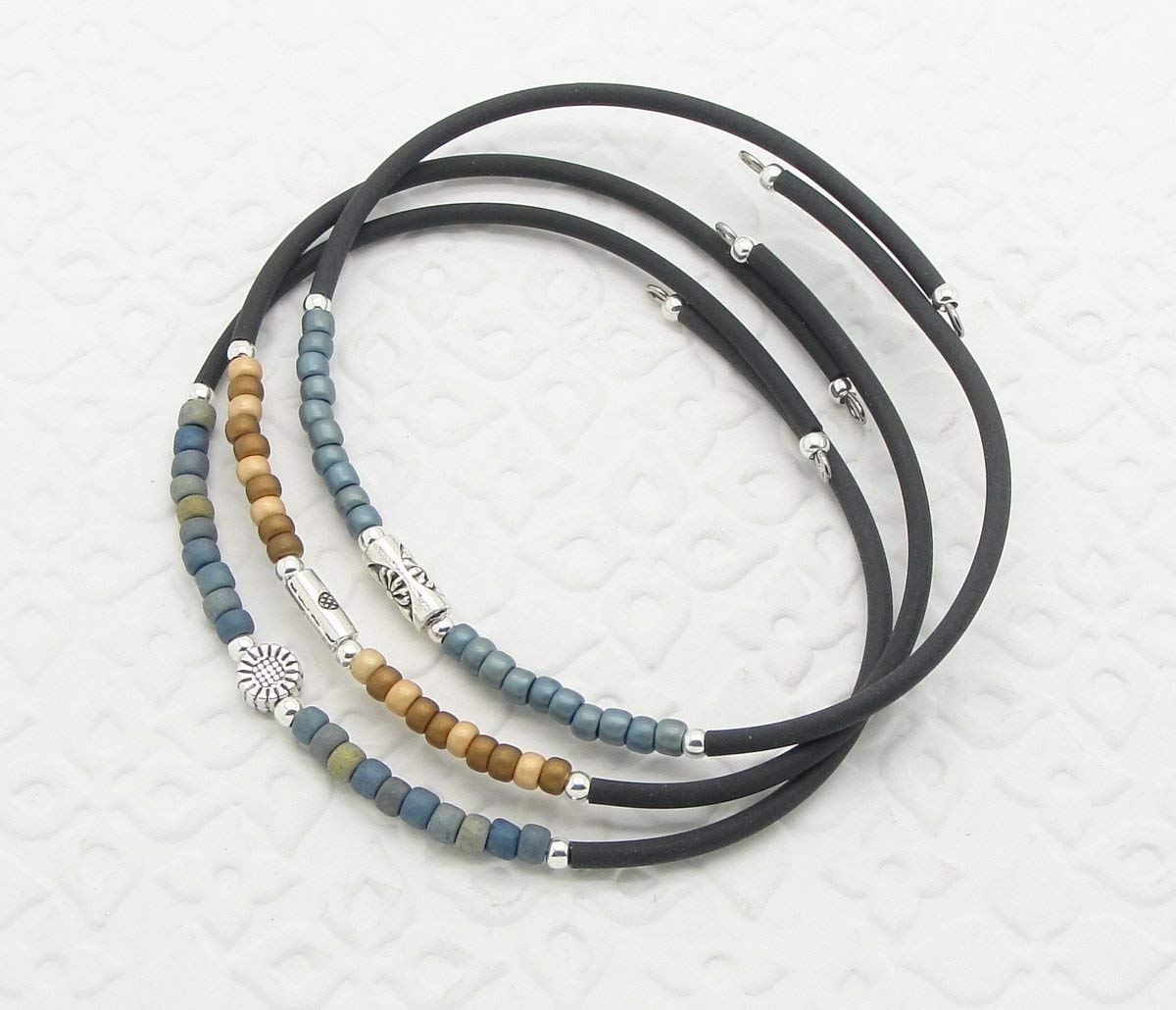 9in denim memory wire bracelet
