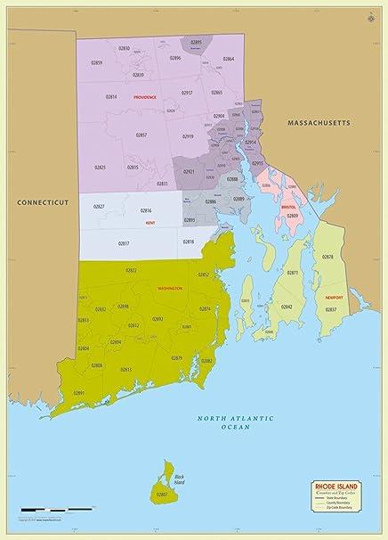 Rhode Island Zip Code Map Amazon.: Rhode Island County with Zip Code Map (36