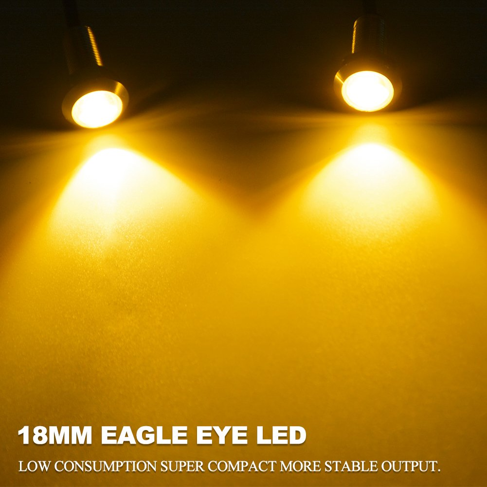 Peachy Yitamotor Amber Eagle Eye Led 18Mm Ultra Thin Silver Aluminum Shell Wiring Cloud Funidienstapotheekhoekschewaardnl
