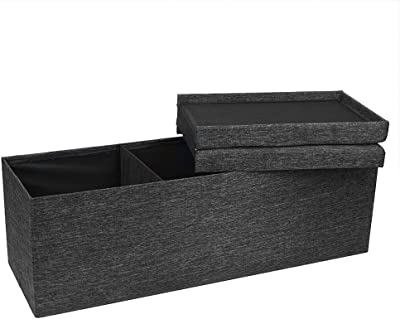 Locking Storage Ottoman With Smart Lift Top Folding Large Foot Rest Stools Multi-Purpose Modern Look Bench Storage And Footrest All In One Padded With Premium Comfort Foam Comfortable For Sitting