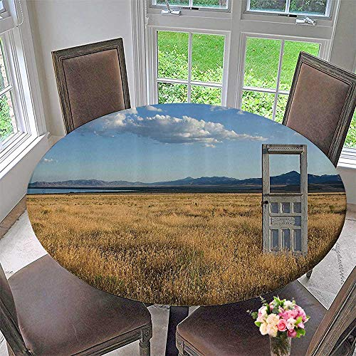 Mikihome Round Premium Tablecloth an Old Door Standing Ale in Grassy Field with Mountains Summer Sky in The Back 67