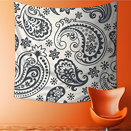 AuraiseHome Wall Hanging Tapestries Seamless Background from a Paisley Ornament Fashionable Modern Wallpaper or Textile Bedroom Living Room Dorm Decor47W x 47L Inch
