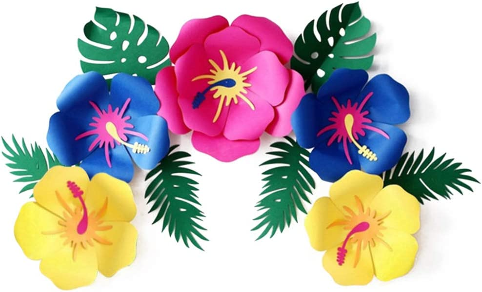 DomeStar Paper Flower Decorations, Paper Artificial Flowers Hawaiian Flowers Mexican Paper Flowers Moana Hawaiian Party Decorations