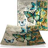 AngelStar Decorative Glass Plate with Wire Display Stand (1, Radiant Butterfly, 8'' Square)