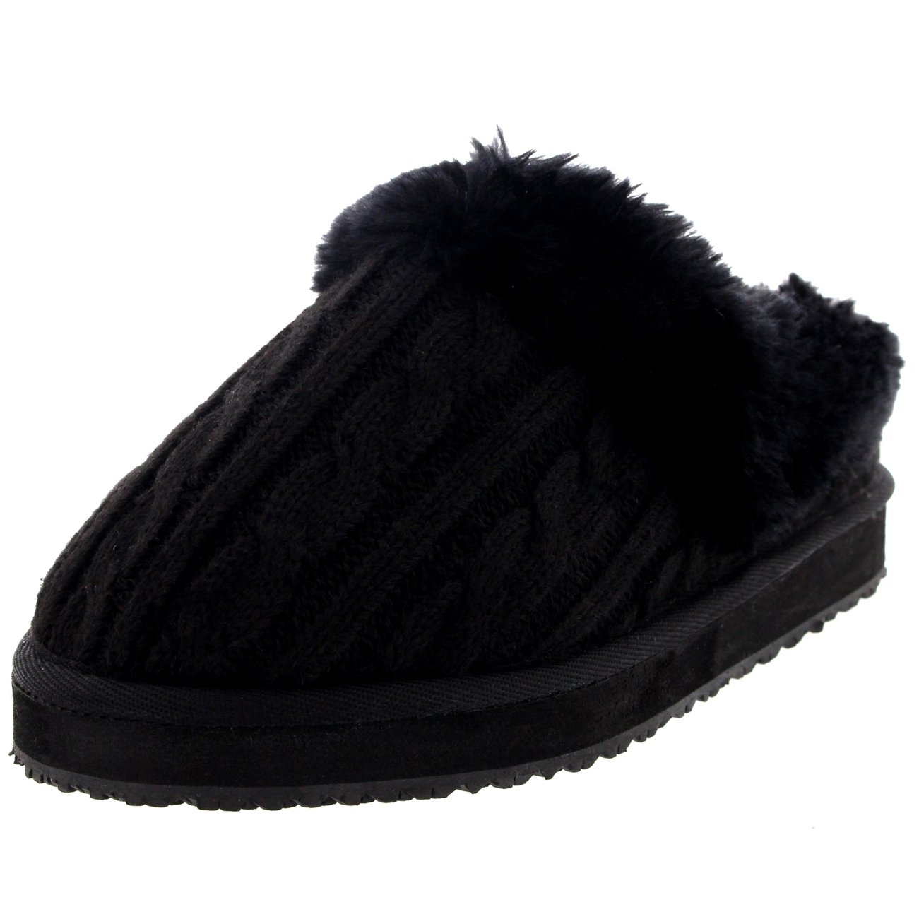 Womens Knitted Cardy Classic Warm Slip On Winter House Slippers - 8 - BLK39 YC0188