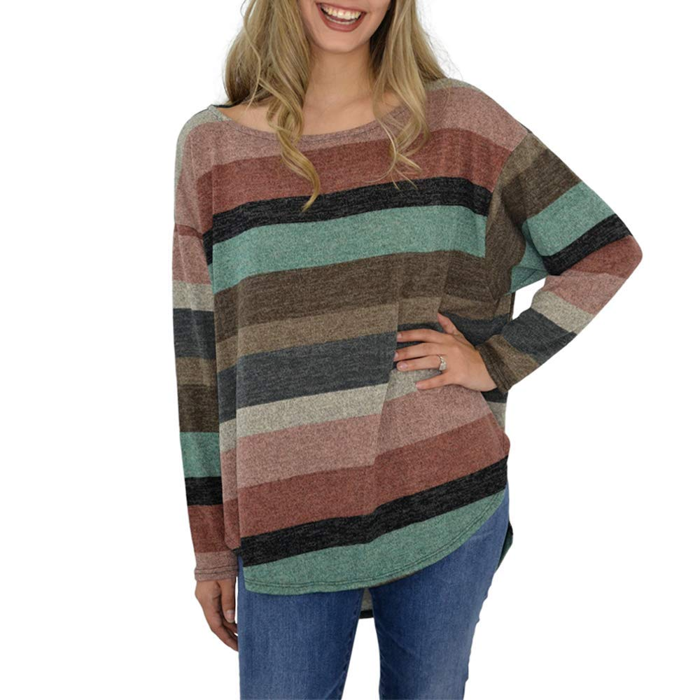 Poche 1913 Long Sleeve Striped Side Slit Top in Rose Teal