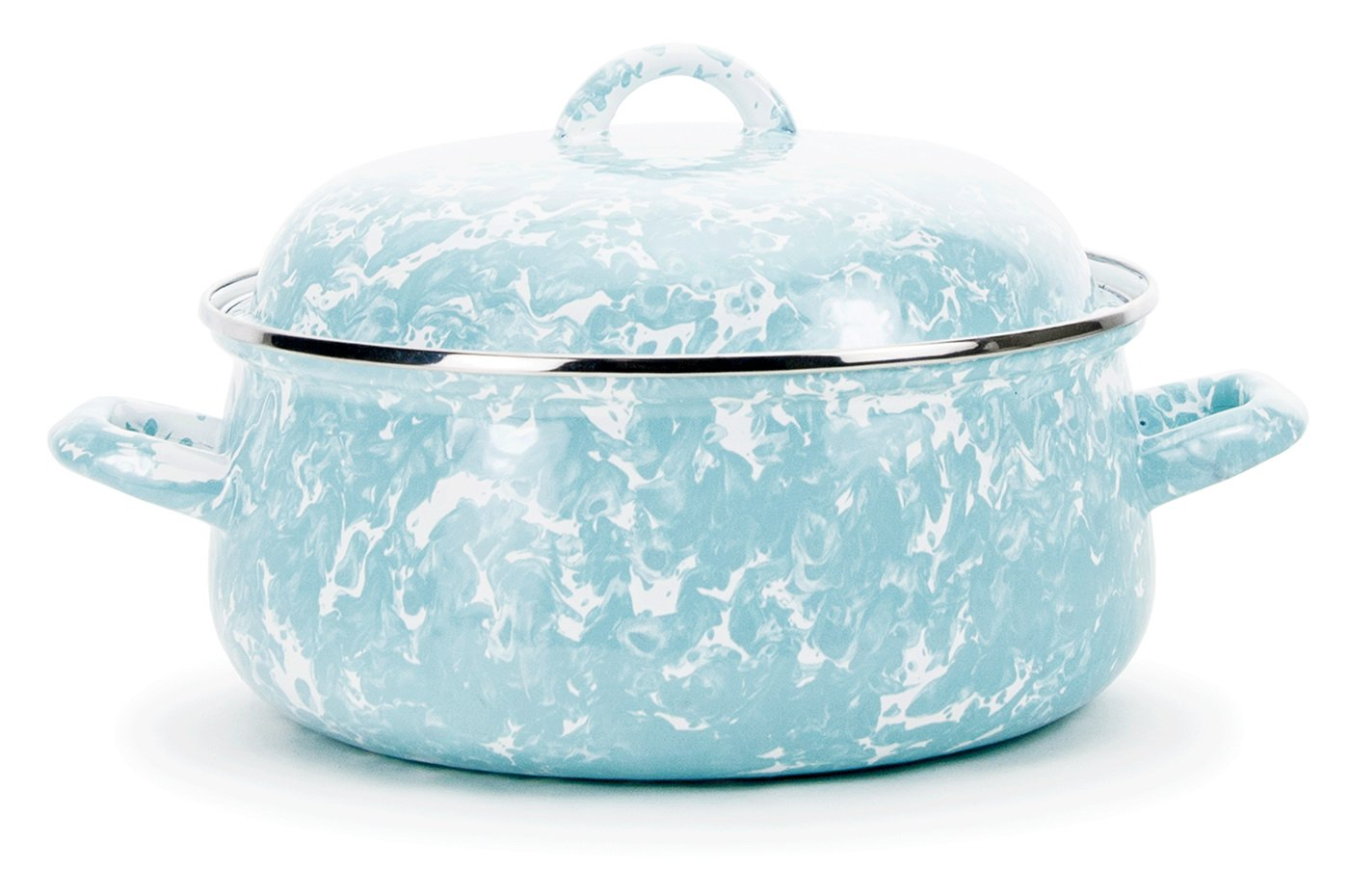 Spatter 4 Qt. Round Dutch Oven Color: Sea Glass