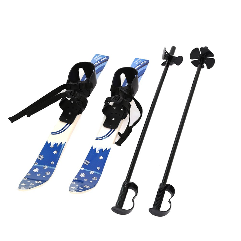 I-sport ABS Plastic Snow Skis and Poles with Bindings for Kids Beginner Ages 2-4 by ISPORT