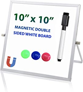 Small Dry Erase White Board 10 x 10 inch, Magnetic Double Sided Portable Mini Whiteboard Easel with Black Marker and 3 Magnets, Reversible Desktop to Do List Notepad for Office Home School