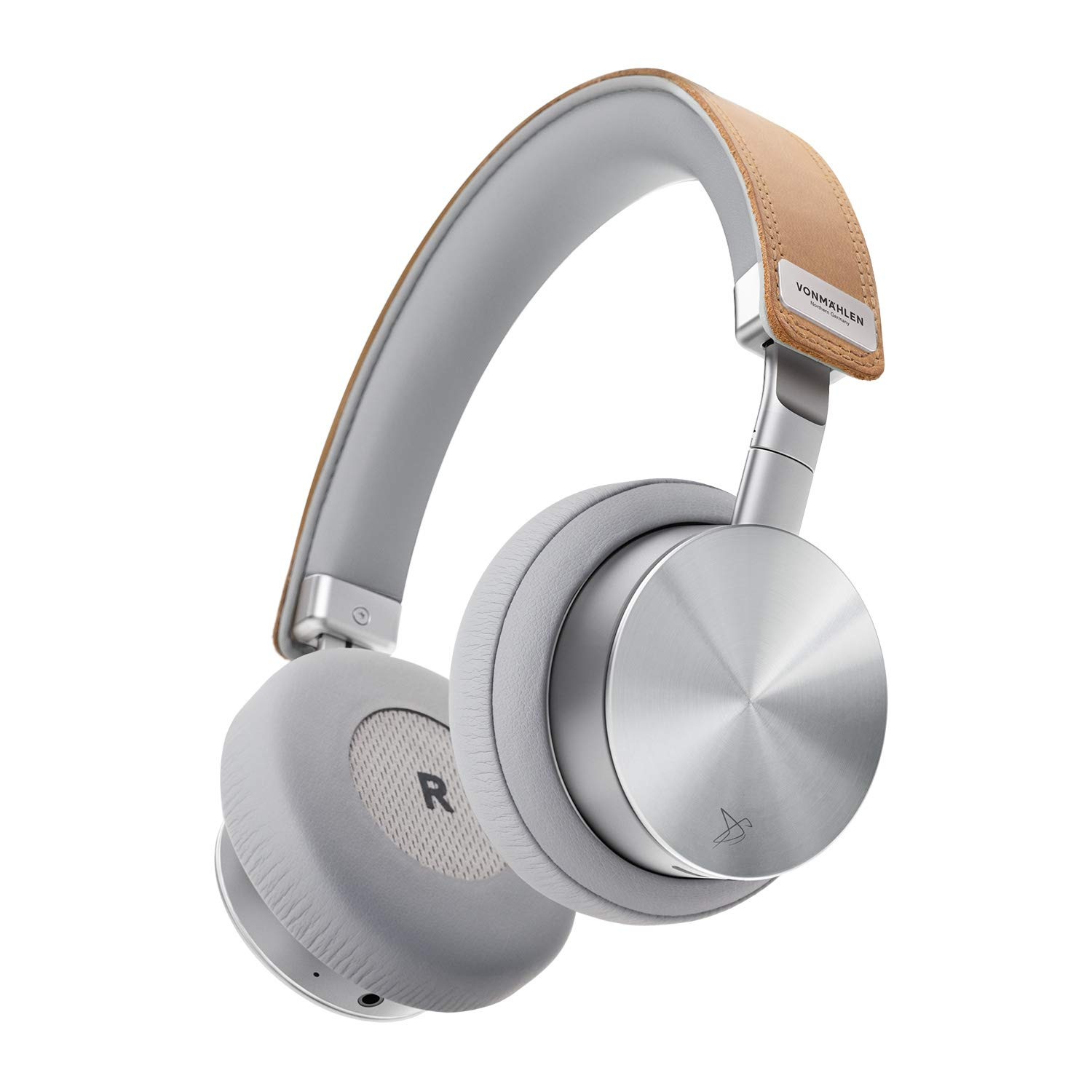 VONMÄHLEN Wireless Concert One – Wireless Bluetooth Headphones – Genuine Leather On-Ear Headphones w/ 21h Battery Life, Travel Case, and Mic - Silver