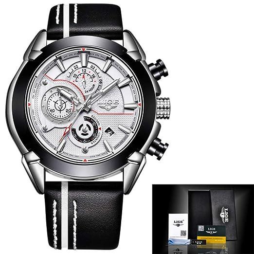 Relojes para Hombre LIGE Reloj Deportivo de Cuarzo Impermeable Multifuncional para Hombres de la Marca Top