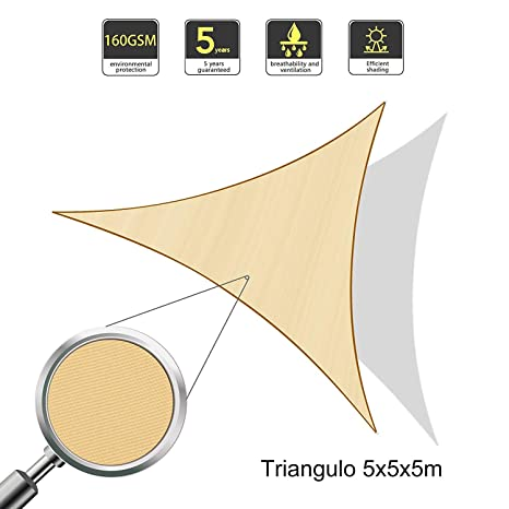 Sunnylaxx Vela de Sombra Triangular 5 x 5 x 5 Metros, toldo Resistente e Impermeable