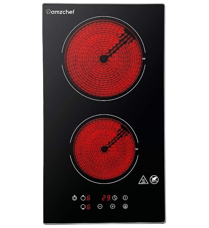 Domino placa vitrocerámica,Amzchef eléctrica vitrocerámica con superficie de vidrio negro pulido, control táctil y bloqueo para niños,temporizador y 9 ...