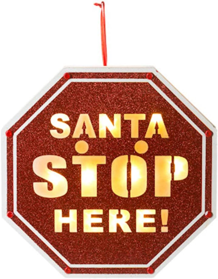 Santa Please Stop Here Sign Solar Light Pathway Lamp Marker for Christmas