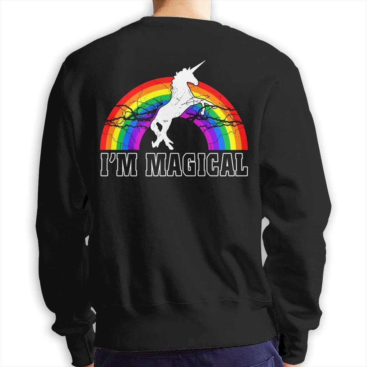 Im Magical Unicorn Rainbow Mens Cotton Casual Double Sides Print Long Sleeve Crewneck Sweatshirt