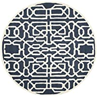 Safavieh Cambridge Collection CAM570M Handcrafted Moroccan Geometric Navy and Ivory Premium Wool Round Area Rug (6 Diameter)