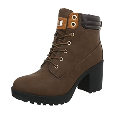 Ital-Design Schnürstiefeletten Damen-Schuhe Klassischer Stiefel Pump Schnürer Reißverschluss Stiefeletten Olive, Gr 36, A-151-