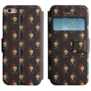 AADes Casa Carcasa Funda Case Bandera PU Cuero - Stand Function - Apple iPhone 5 / 5S ( cráneo y rosas )