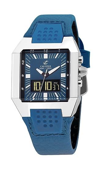 Calypso K5335/1 - Reloj de Pulsera Hombre, Piel, Color Azul: Amazon.es: Relojes