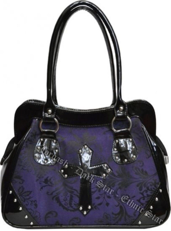 Dark Star Black and Purple PVC Brocade Studded Cross Handbag Purse.