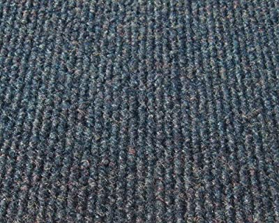 """Misty Blue Indoor-Outdoor 3/16"""" Thick Unbound Area Rug With Latex Marine Backing"""