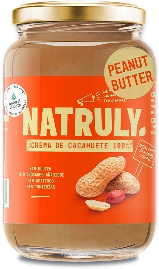 NATRULY Crema de Cacahuete Sin Azúcar, Vegana, Sin Gluten, Sin Lactosa, 100% Cacahuete -500g (antes Natural Athlete)