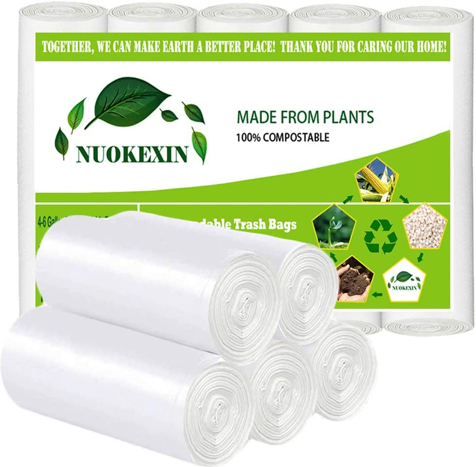 100% Compost Trash Bags, 4,5 Gallon Trash Bags Small Can Liners Garbage Bags, Bathroom Small Biodegradable Trash Bags for Office Kitchen,White,100 Counts,Fits 4-5 Gallon Bins