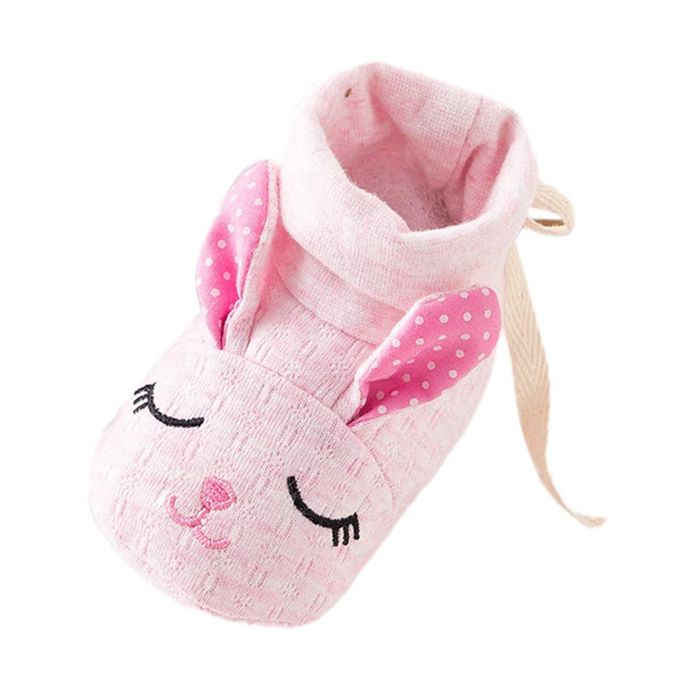 NUWFOR Baby Boy Girl Cartoon Animal Image Shoes Toddler Shoes Anti-Slip Home Shoes(Pink,0-3Months)