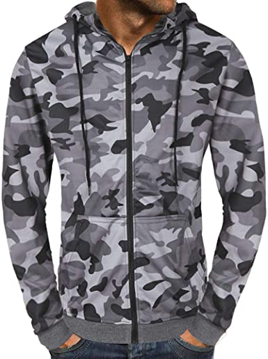 Wan-T Men Plain Camouflage Print Zip-Up Drawstring Pockets Slim Fit Stylish Hoodie Sweatshirt