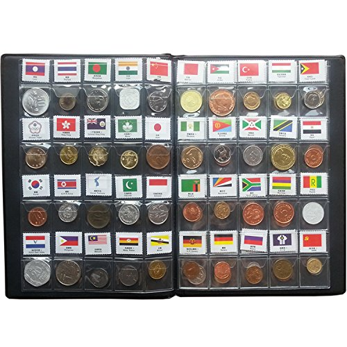 Coin Collection Starter Kit 60 Countries Coins 100% Original Genuine World Coin with Leather Collecting Album Taged by Country Name And Flags