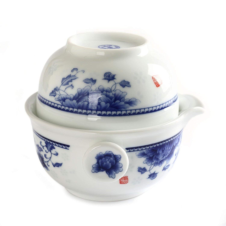 Chinese JingDe Porcelain Peony Flower Gaiwan Teapot Teacup Quick Gongfu Tea Maker Set JingDe Town LEPAC4321