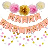 Happy Birthday Decorations Banner Pastel Perfection And Pink For Flamingo Party Supplies