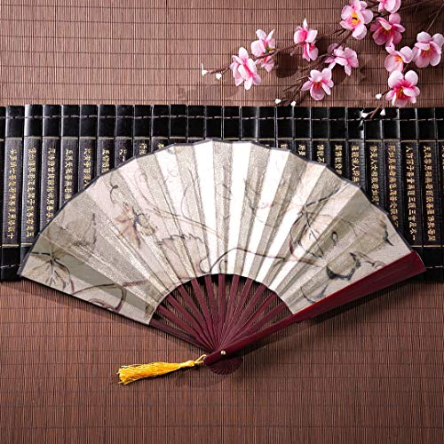 JGYJF Hand Fan Craft Beautiful Bunches of Grapes with Bamboo Frame Tassel Pendant and Cloth Bag Chinese Fan for Women Fan Handheld Bamboo Folding Bamboo Fan -