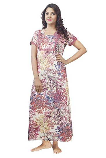 ff6392a210 IMJI Nightwear Off White Floral Printed Long Nighty with Front Zip for Women  (Medium)