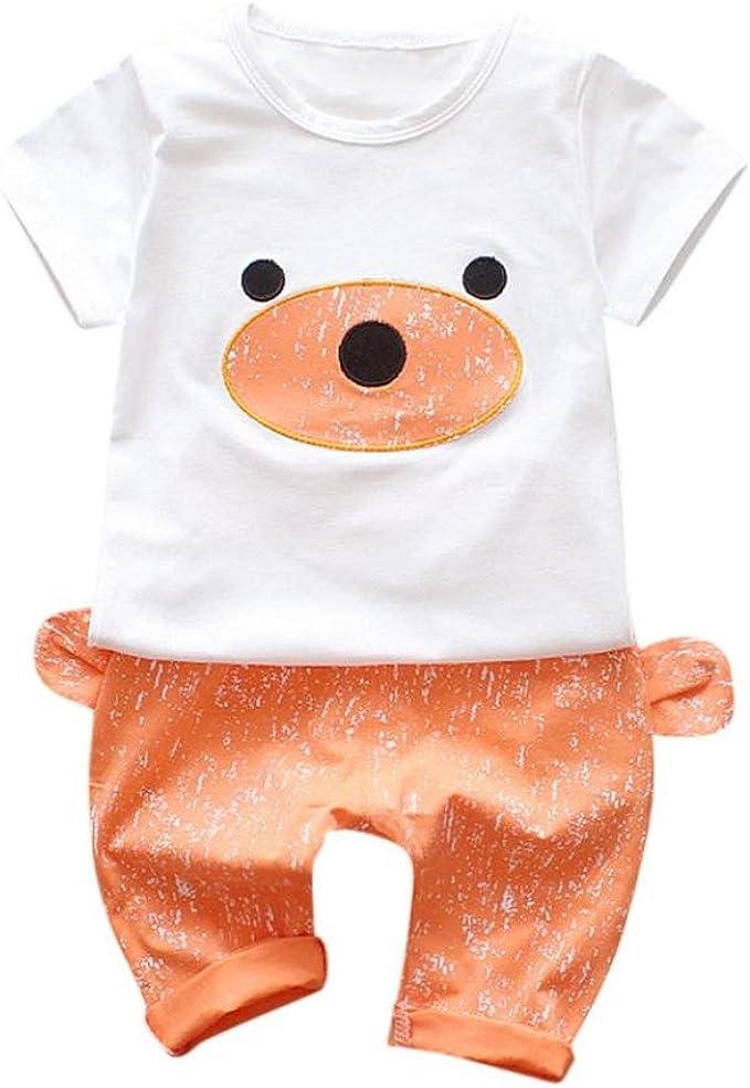 2018 Verano Ropa Reci/én Nacidos Ropa Bebe Ni/ño Mangas Cortas Camiseta Bear T-Shirt Tops y Pantalones Cortos Conjunto de Ropa de Dos Piezas K-youth/® Conjuntos Beb/é Ni/ño