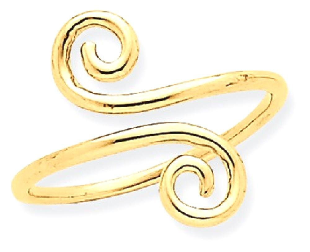 ICE CARATS 14k Yellow Gold Swirl Adjustable Cute Toe Ring Set Fine Jewelry Gift Set For Women Heart