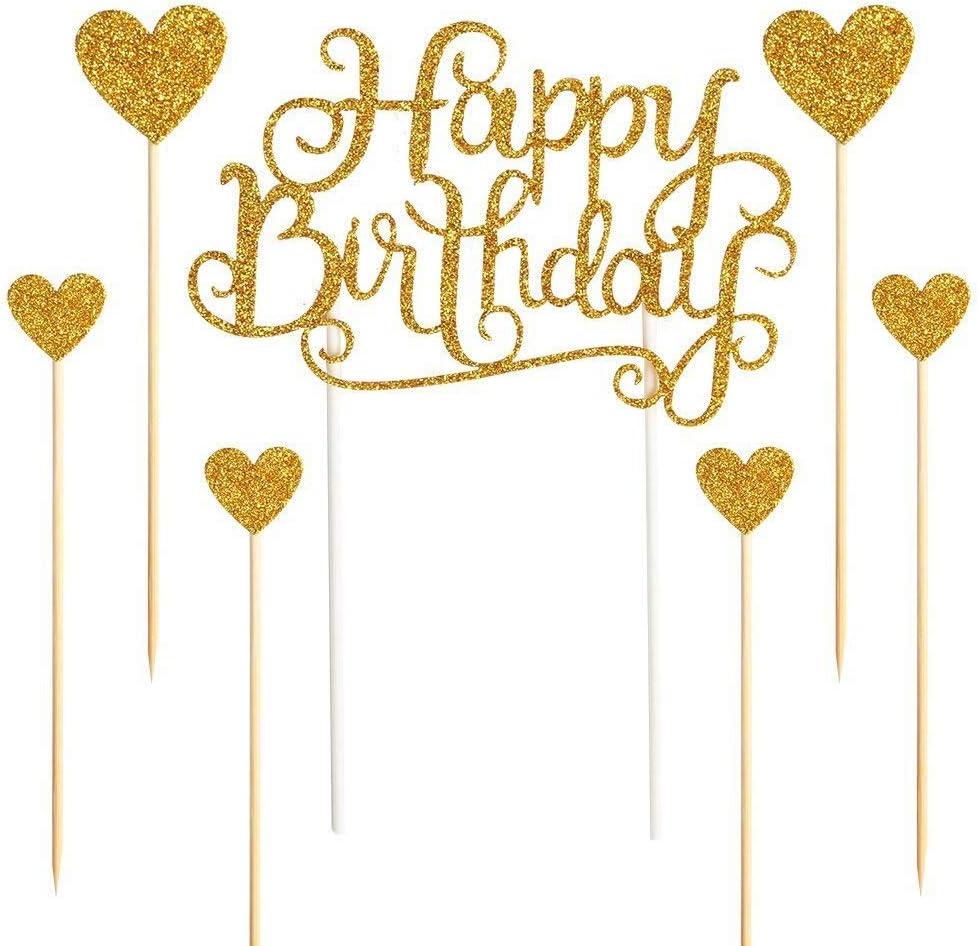 Qiwenr Decorazione Torta di Compleanno,Happy Birthday Cake Topper Glitter Decorazione per Torta a Forma di Scritta Happy Birthday Topper per Torte Compleanno Buon Compleanno Festa Topper Decorativi