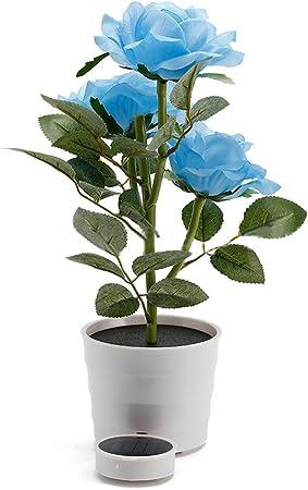 LED Artificial Solar Power Rose Flower Garden Landscape Light Garden Blue