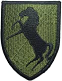 11th Armored Cavalry Regiment Black Horse ACR Divison Horse HQ Military U.S. Army Tactical Vest Logo DIY Applique Embroidered Sew Iron on Emblem Badge Costume Patch - Olive Drab OD